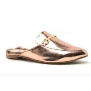 Qupid Rose Gold Mules Fur lined